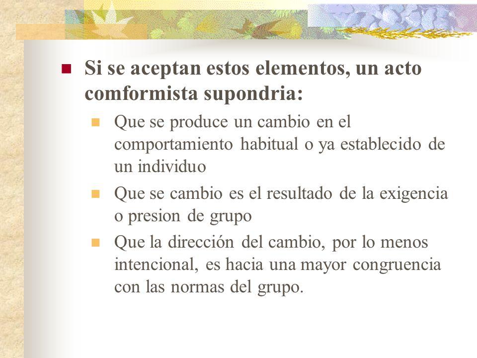Si se aceptan estos elementos, un acto comformista supondria: Que se produce un cambio en el comportamiento habitual o ya establecido de un individuo