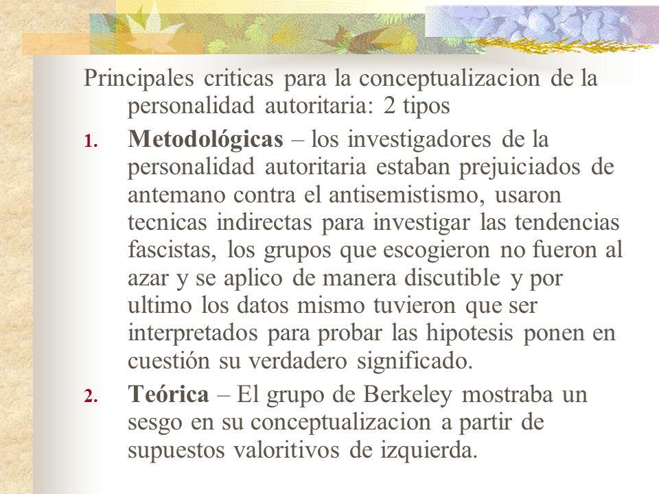 Principales criticas para la conceptualizacion de la personalidad autoritaria: 2 tipos 1. Metodológicas – los investigadores de la personalidad autori