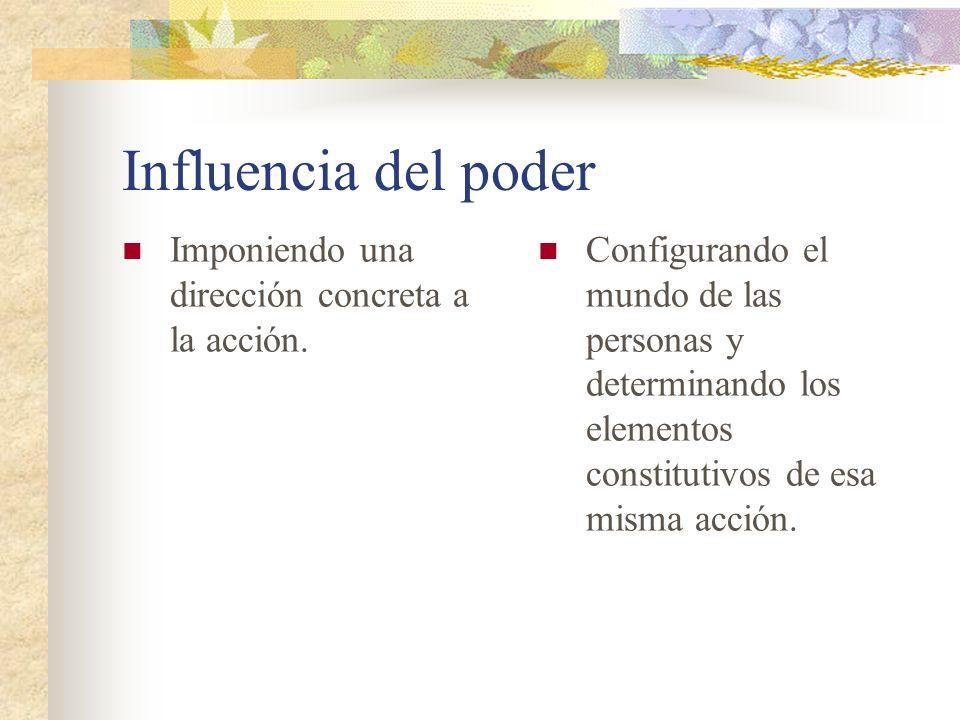 Influencia del poder Imponiendo una dirección concreta a la acción. Configurando el mundo de las personas y determinando los elementos constitutivos d