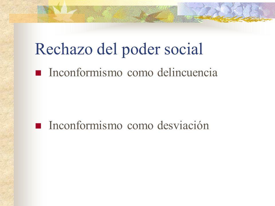 Rechazo del poder social Inconformismo como delincuencia Inconformismo como desviación