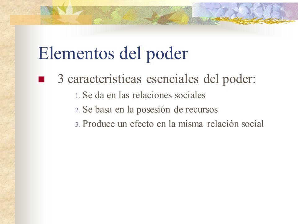 Elementos del poder 3 características esenciales del poder: 1. Se da en las relaciones sociales 2. Se basa en la posesión de recursos 3. Produce un ef