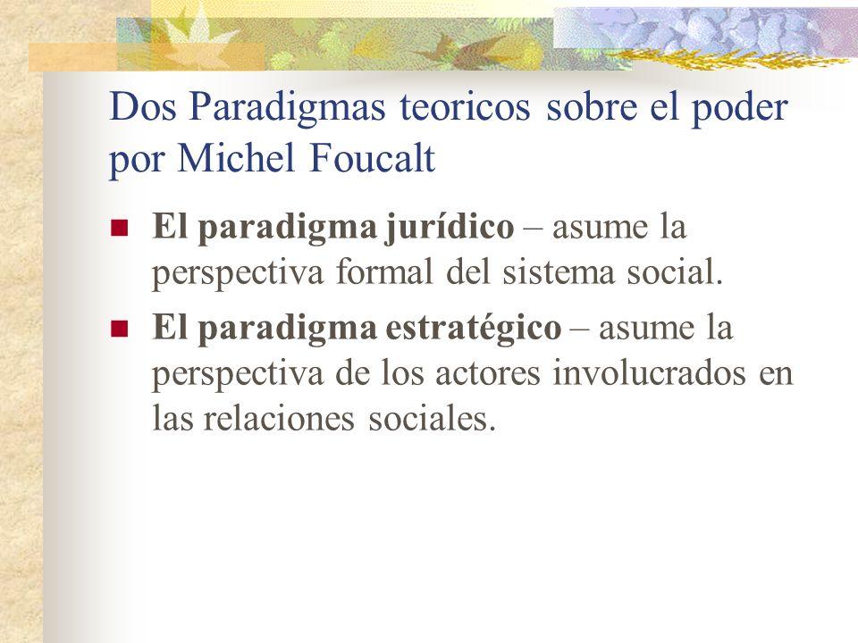 Dos Paradigmas teoricos sobre el poder por Michel Foucalt El paradigma jurídico – asume la perspectiva formal del sistema social. El paradigma estraté