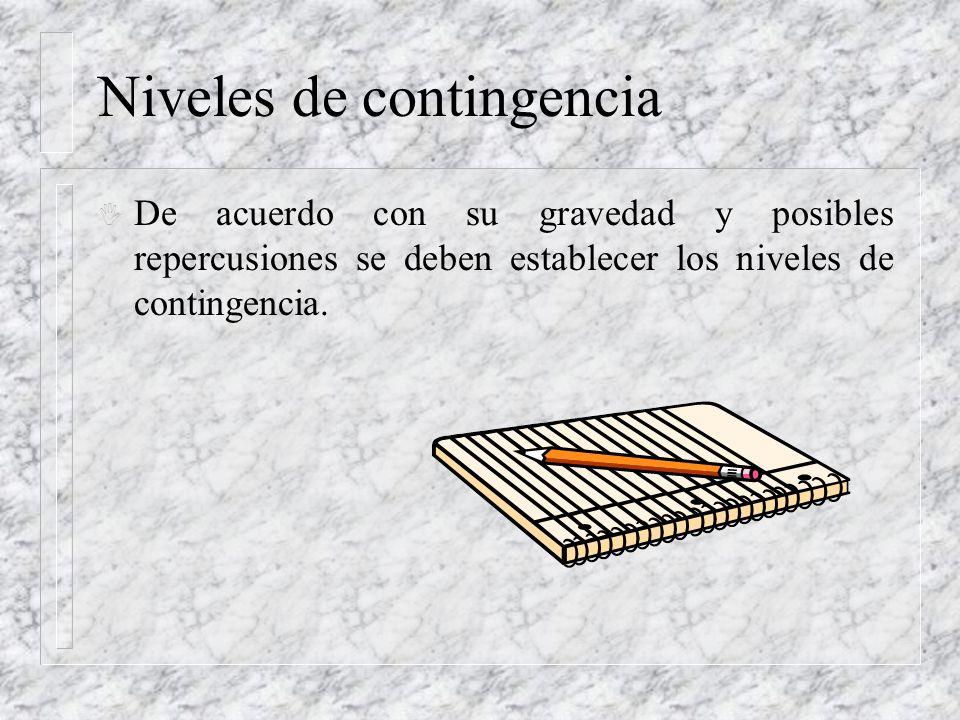 Niveles de contingencia I De acuerdo con su gravedad y posibles repercusiones se deben establecer los niveles de contingencia.