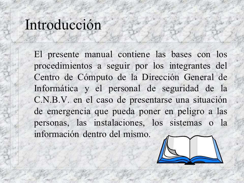 Introducción I El presente manual contiene las bases con los procedimientos a seguir por los integrantes del Centro de Cómputo de la Dirección General