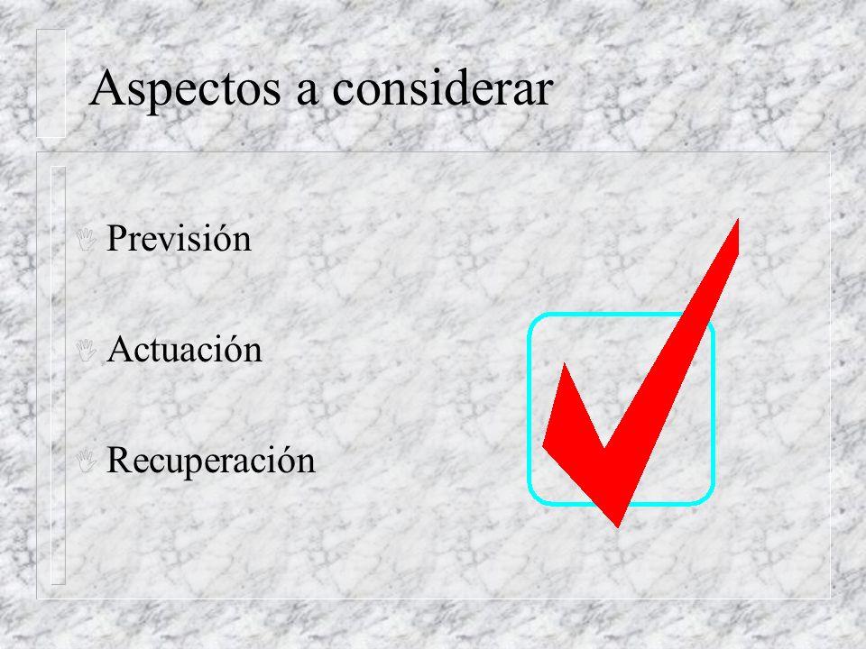 Aspectos a considerar I Previsión I Actuación I Recuperación