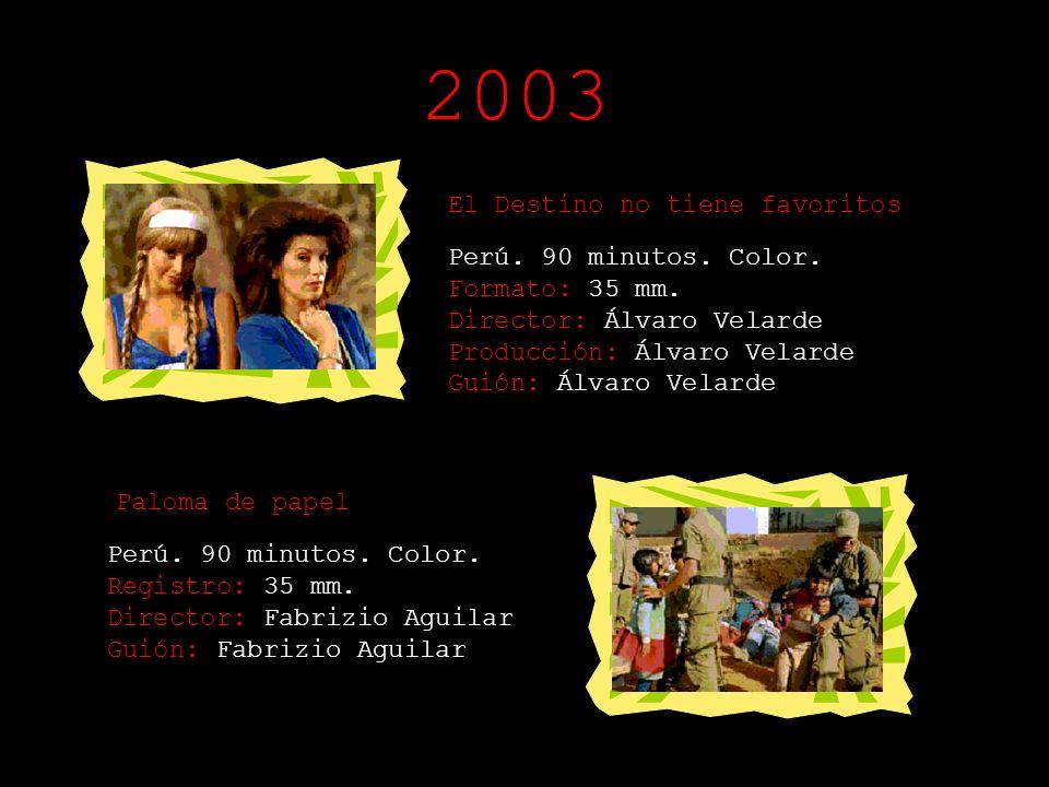 2002 El Forastero Perú - España. 125 minutos. Color Registro: 35 mm. Director: Federico García Producción: Pilar Roca Guión: Federico García
