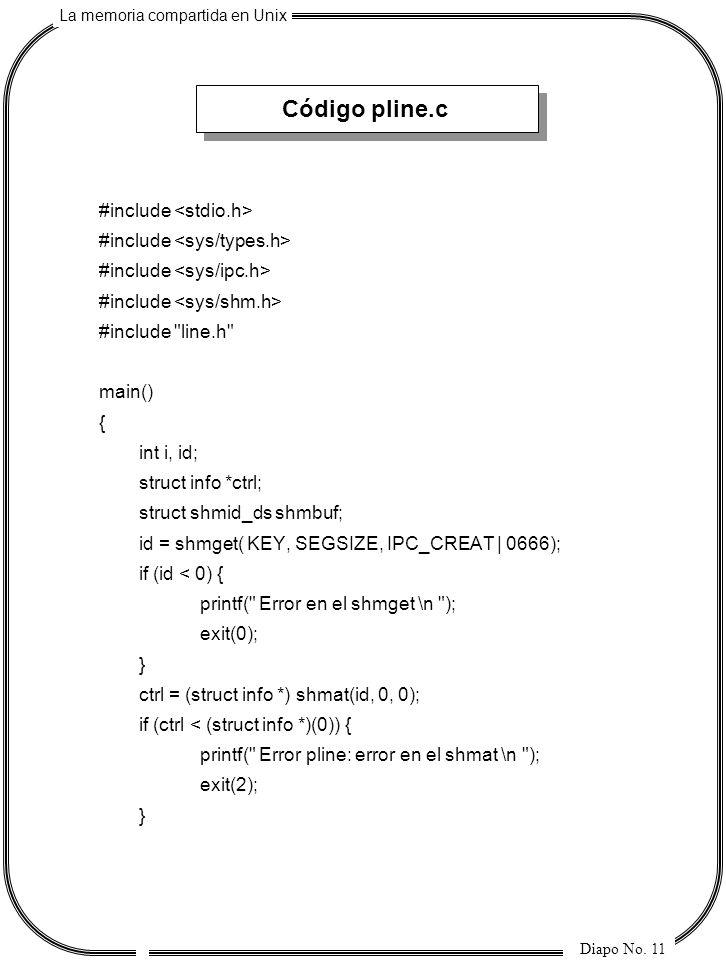 La memoria compartida en Unix Diapo No. 11 Código pline.c #include #include