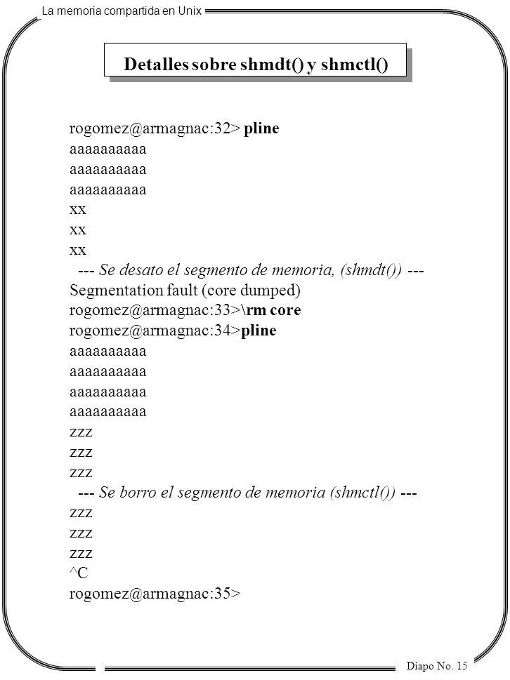 La memoria compartida en Unix Diapo No. 15 Detalles sobre shmdt() y shmctl() rogomez @ armagnac:32> pline aaaaaaaaaa xx --- Se desato el segmento de m