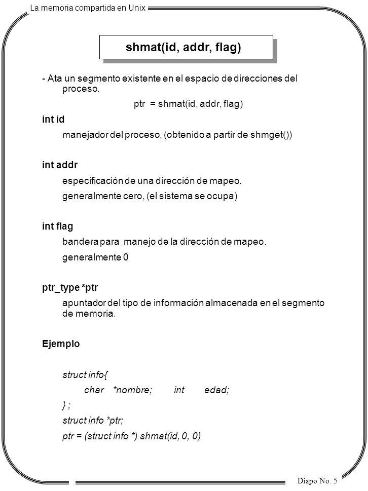 La memoria compartida en Unix Diapo No. 5 shmat(id, addr, flag) - Ata un segmento existente en el espacio de direcciones del proceso. ptr = shmat(id,