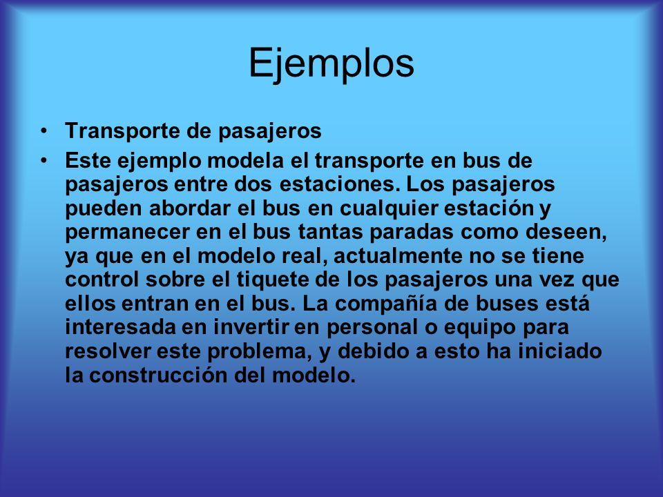 Ejemplos Transporte de pasajeros Este ejemplo modela el transporte en bus de pasajeros entre dos estaciones. Los pasajeros pueden abordar el bus en cu