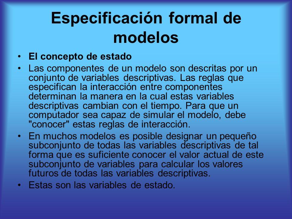 Especificación formal de modelos El concepto de estado Las componentes de un modelo son descritas por un conjunto de variables descriptivas.