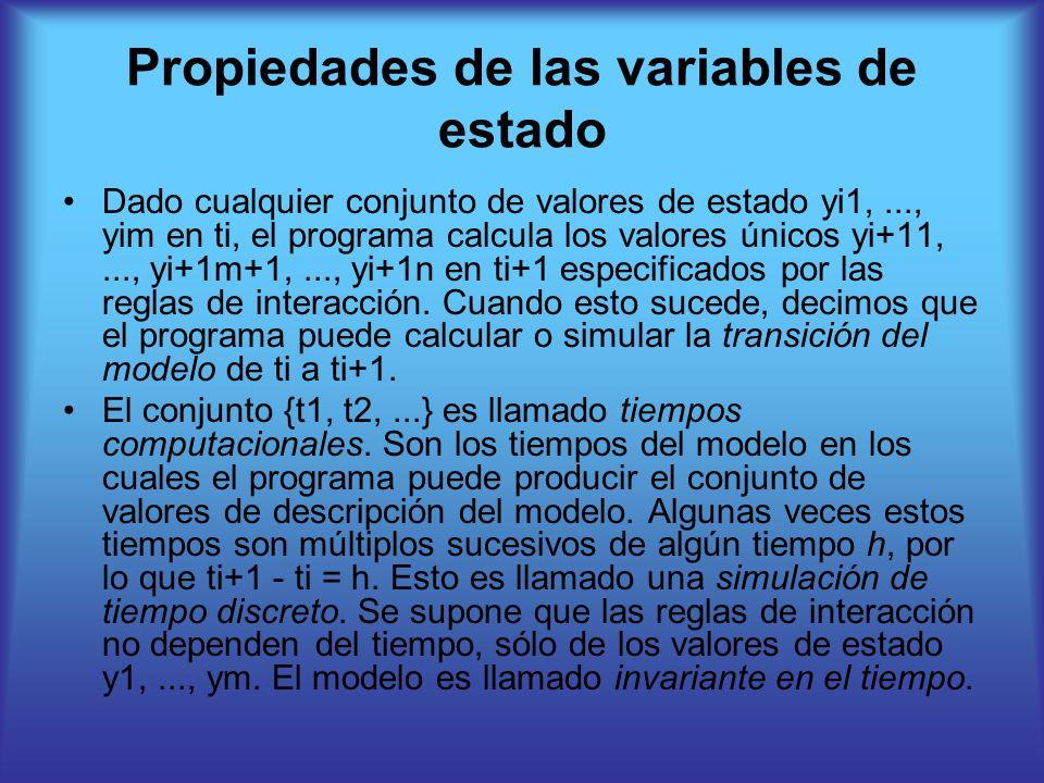 Propiedades de las variables de estado Dado cualquier conjunto de valores de estado yi1,..., yim en ti, el programa calcula los valores únicos yi+11,..., yi+1m+1,..., yi+1n en ti+1 especificados por las reglas de interacción.