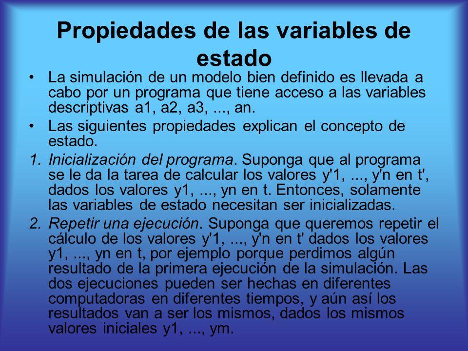 Propiedades de las variables de estado La simulación de un modelo bien definido es llevada a cabo por un programa que tiene acceso a las variables descriptivas a1, a2, a3,..., an.