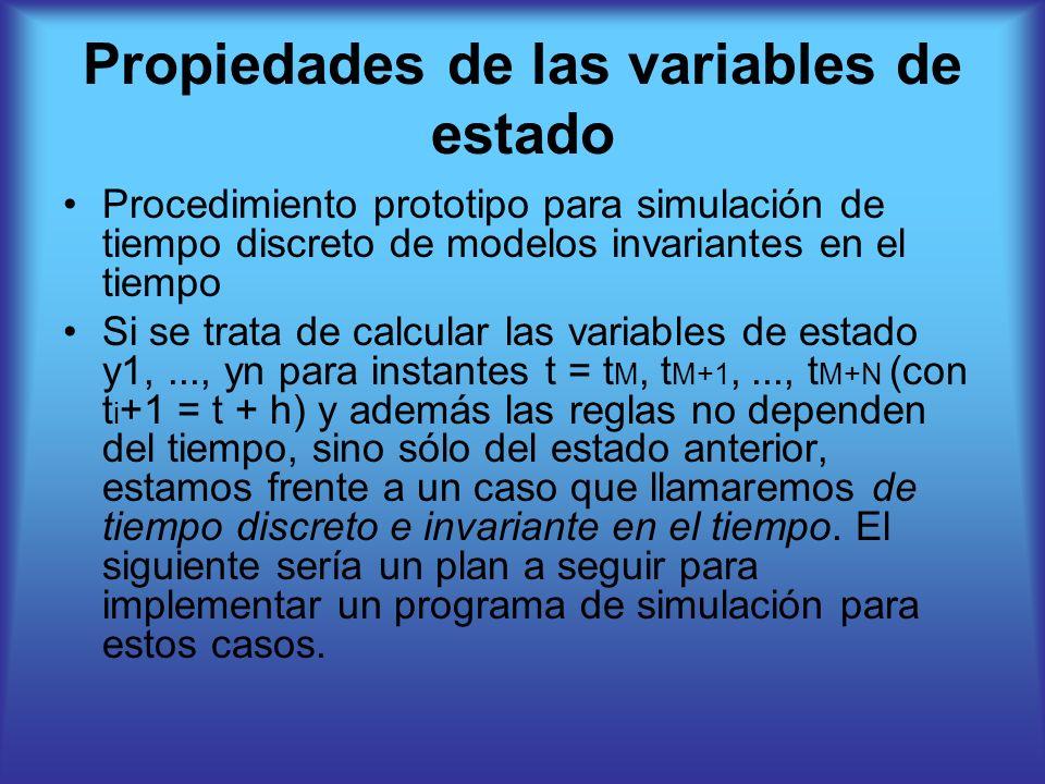 Propiedades de las variables de estado Procedimiento prototipo para simulación de tiempo discreto de modelos invariantes en el tiempo Si se trata de calcular las variables de estado y1,..., yn para instantes t = t M, t M+1,..., t M+N (con t i +1 = t + h) y además las reglas no dependen del tiempo, sino sólo del estado anterior, estamos frente a un caso que llamaremos de tiempo discreto e invariante en el tiempo.