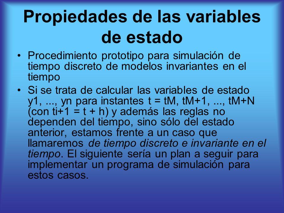 Procedimiento prototipo para simulación de tiempo discreto de modelos invariantes en el tiempo Si se trata de calcular las variables de estado y1,..., yn para instantes t = tM, tM+1,..., tM+N (con ti+1 = t + h) y además las reglas no dependen del tiempo, sino sólo del estado anterior, estamos frente a un caso que llamaremos de tiempo discreto e invariante en el tiempo.