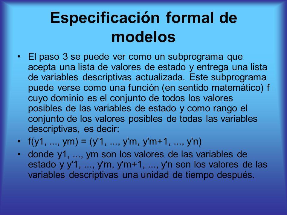 Especificación formal de modelos El paso 3 se puede ver como un subprograma que acepta una lista de valores de estado y entrega una lista de variables descriptivas actualizada.
