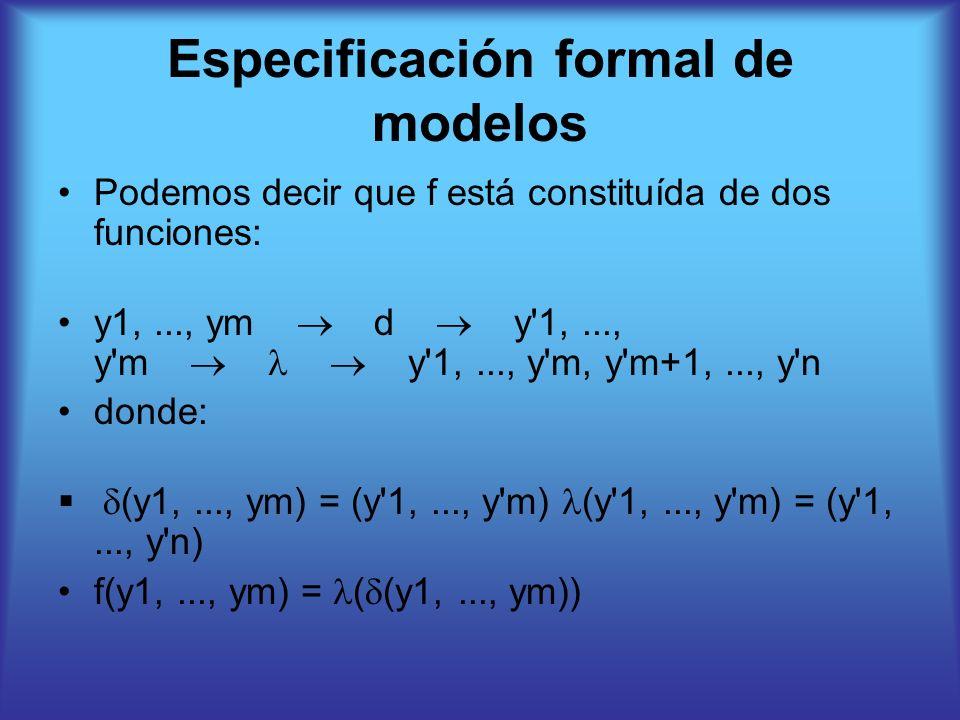 Especificación formal de modelos Podemos decir que f está constituída de dos funciones: y1,..., ym d y 1,..., y m y 1,..., y m, y m+1,..., y n donde: (y1,..., ym) = (y 1,..., y m) (y 1,..., y m) = (y 1,..., y n) f(y1,..., ym) = ( (y1,..., ym))