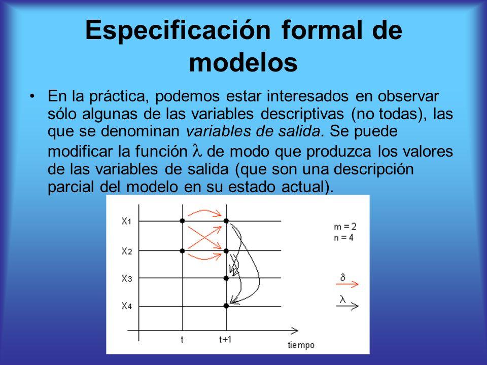 Especificación formal de modelos En la práctica, podemos estar interesados en observar sólo algunas de las variables descriptivas (no todas), las que se denominan variables de salida.