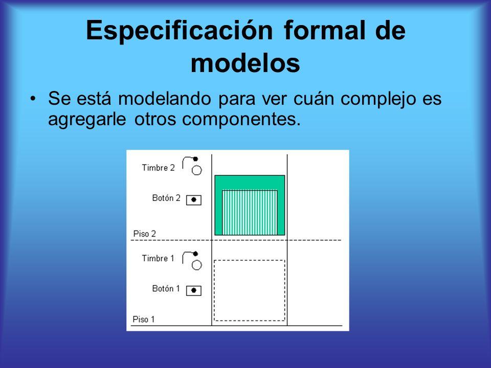 Especificación formal de modelos Se está modelando para ver cuán complejo es agregarle otros componentes.
