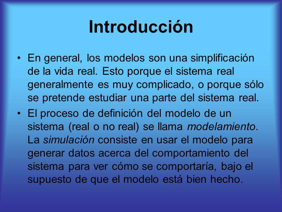 Introducción En general, los modelos son una simplificación de la vida real. Esto porque el sistema real generalmente es muy complicado, o porque sólo