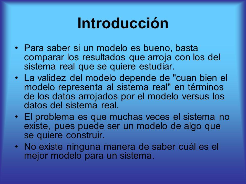 Introducción Para saber si un modelo es bueno, basta comparar los resultados que arroja con los del sistema real que se quiere estudiar.