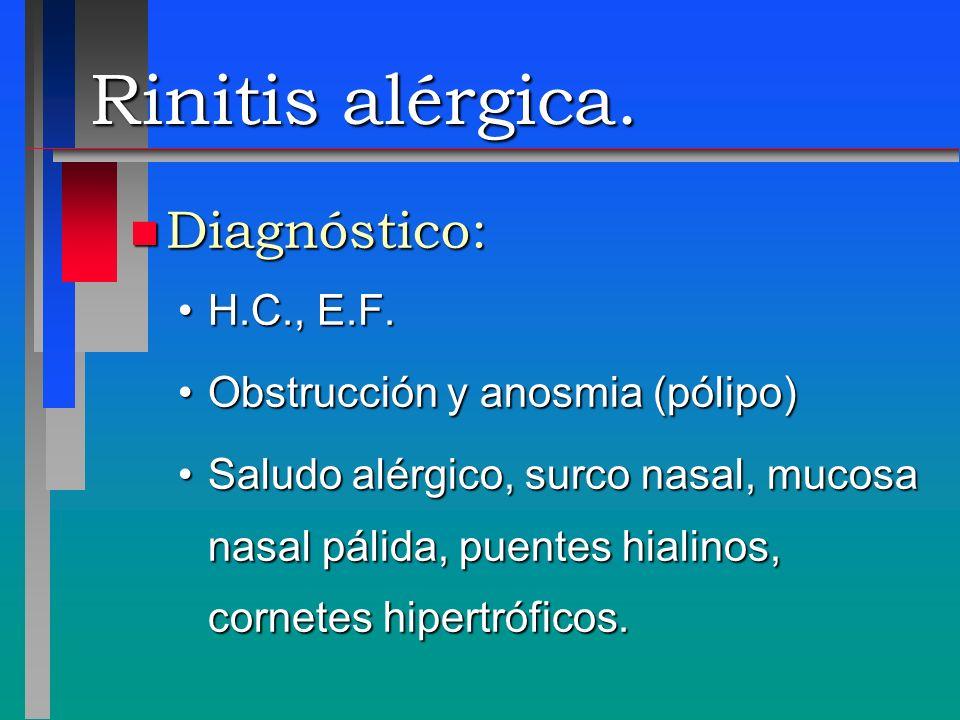 Rinitis alérgica. n Diagnóstico: H.C., E.F.H.C., E.F. Obstrucción y anosmia (pólipo)Obstrucción y anosmia (pólipo) Saludo alérgico, surco nasal, mucos