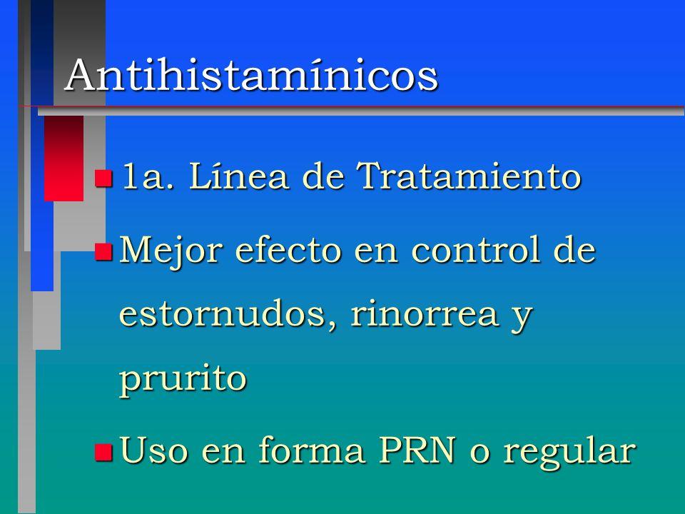 Antihistamínicos n 1a. Línea de Tratamiento n Mejor efecto en control de estornudos, rinorrea y prurito n Uso en forma PRN o regular