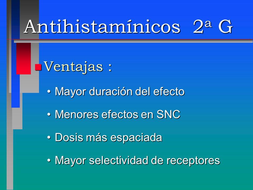 Antihistamínicos 2 a G n Ventajas : Mayor duración del efectoMayor duración del efecto Menores efectos en SNCMenores efectos en SNC Dosis más espaciad