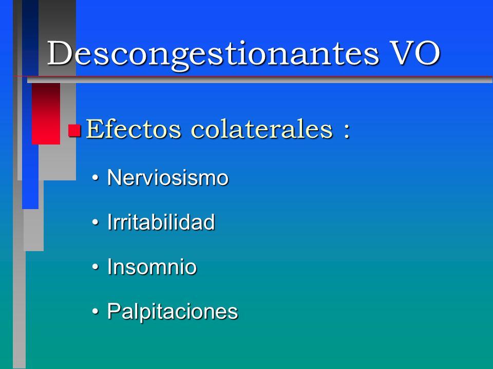 Descongestionantes VO n Efectos colaterales : NerviosismoNerviosismo IrritabilidadIrritabilidad InsomnioInsomnio PalpitacionesPalpitaciones
