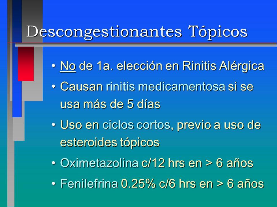 Descongestionantes Tópicos No de 1a. elección en Rinitis AlérgicaNo de 1a. elección en Rinitis Alérgica Causan rinitis medicamentosa si se usa más de