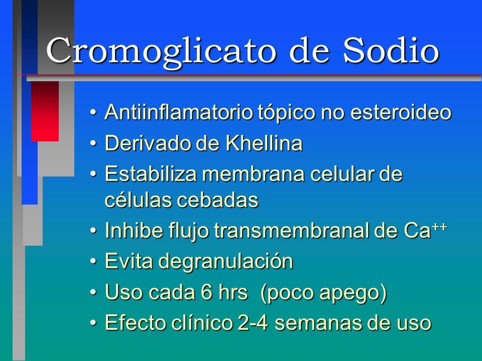Cromoglicato de Sodio Antiinflamatorio tópico no esteroideoAntiinflamatorio tópico no esteroideo Derivado de KhellinaDerivado de Khellina Estabiliza m