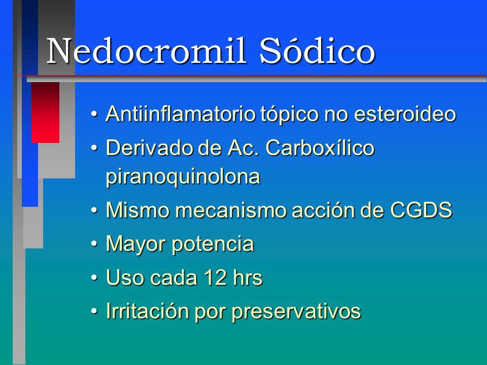 Nedocromil Sódico Antiinflamatorio tópico no esteroideoAntiinflamatorio tópico no esteroideo Derivado de Ac. Carboxílico piranoquinolonaDerivado de Ac
