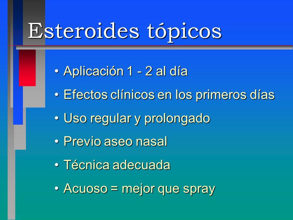 Esteroides tópicos Aplicación 1 - 2 al díaAplicación 1 - 2 al día Efectos clínicos en los primeros díasEfectos clínicos en los primeros días Uso regul