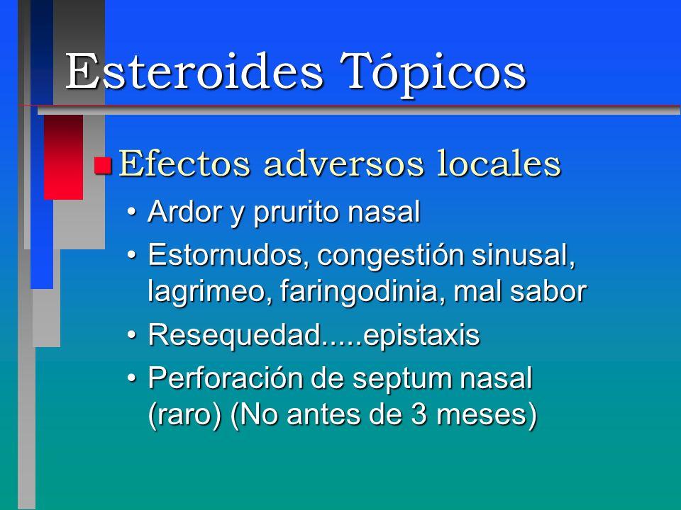 Esteroides Tópicos n Efectos adversos locales Ardor y prurito nasalArdor y prurito nasal Estornudos, congestión sinusal, lagrimeo, faringodinia, mal s