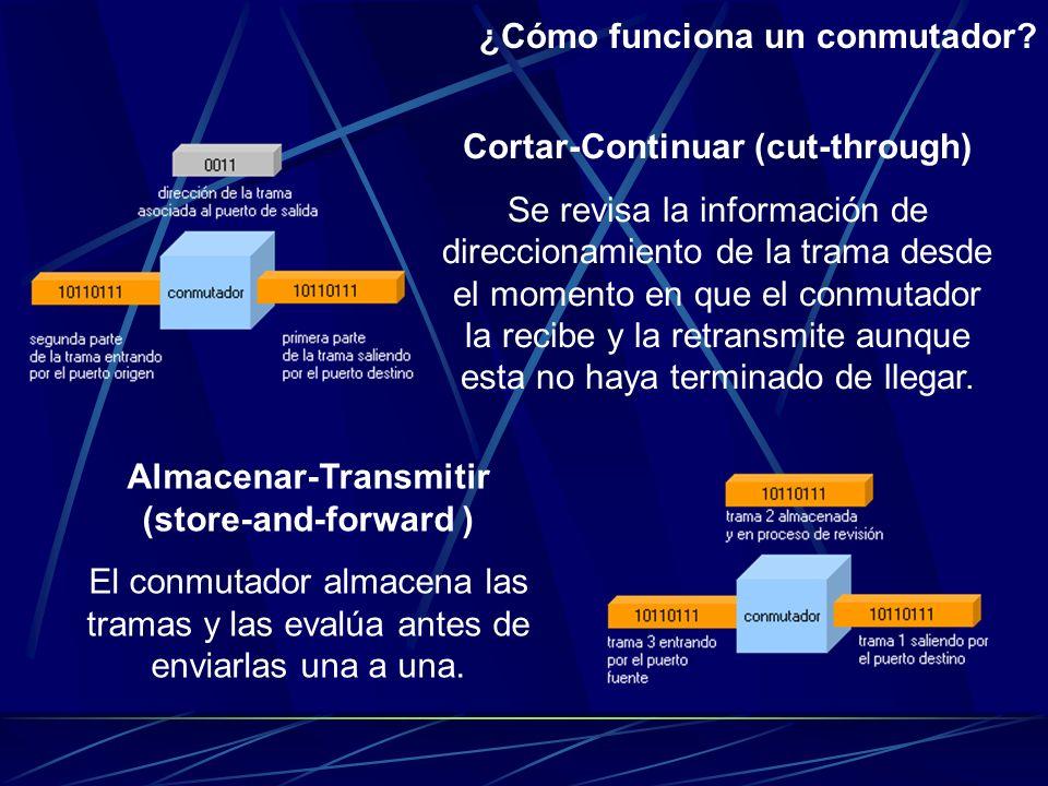 Un conmutador mantiene, internamente, una tabla asociando los puertos físicos con las direcciones de los nodos conectados a cada puerto. Las direccion