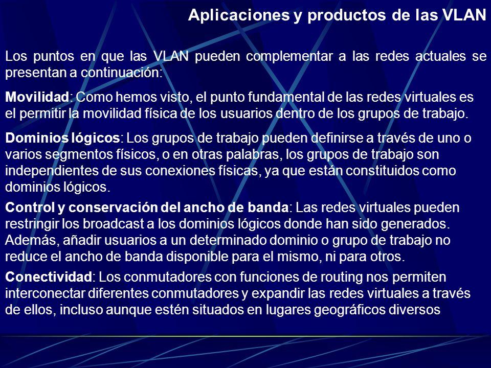 ¿Qué tecnologías soportan las VLAN? Conmutadores de segmentos con bridging/routing. Son dispositivos que comparten todas las ventajas de los conmutado
