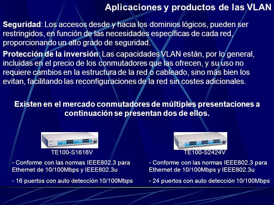 Aplicaciones y productos de las VLAN Los puntos en que las VLAN pueden complementar a las redes actuales se presentan a continuación: Conectividad: Lo