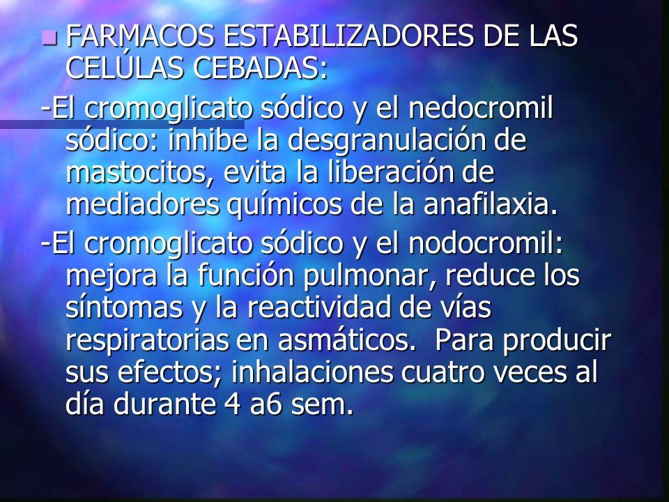 FARMACOS ESTABILIZADORES DE LAS CELÚLAS CEBADAS: FARMACOS ESTABILIZADORES DE LAS CELÚLAS CEBADAS: -El cromoglicato sódico y el nedocromil sódico: inhi