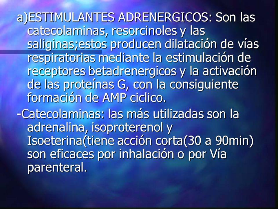 a)ESTIMULANTES ADRENERGICOS: Son las catecolaminas, resorcinoles y las saliginas;estos producen dilatación de vías respiratorias mediante la estimulac