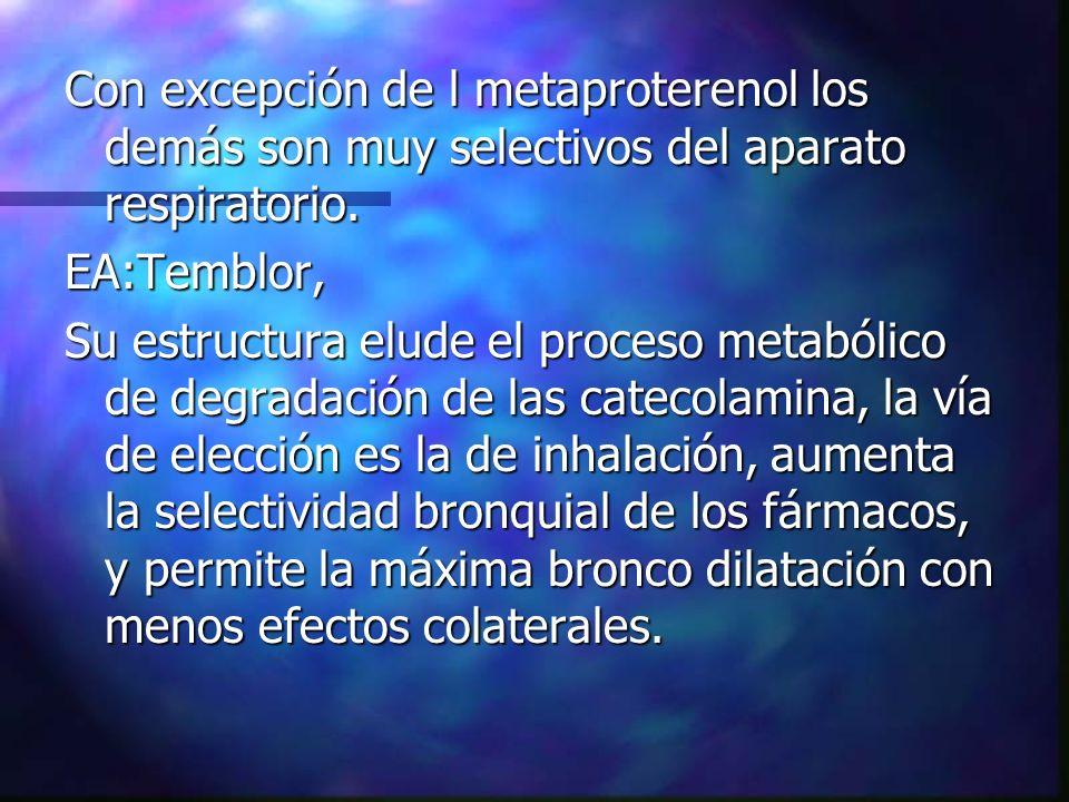 Con excepción de l metaproterenol los demás son muy selectivos del aparato respiratorio. EA:Temblor, Su estructura elude el proceso metabólico de degr