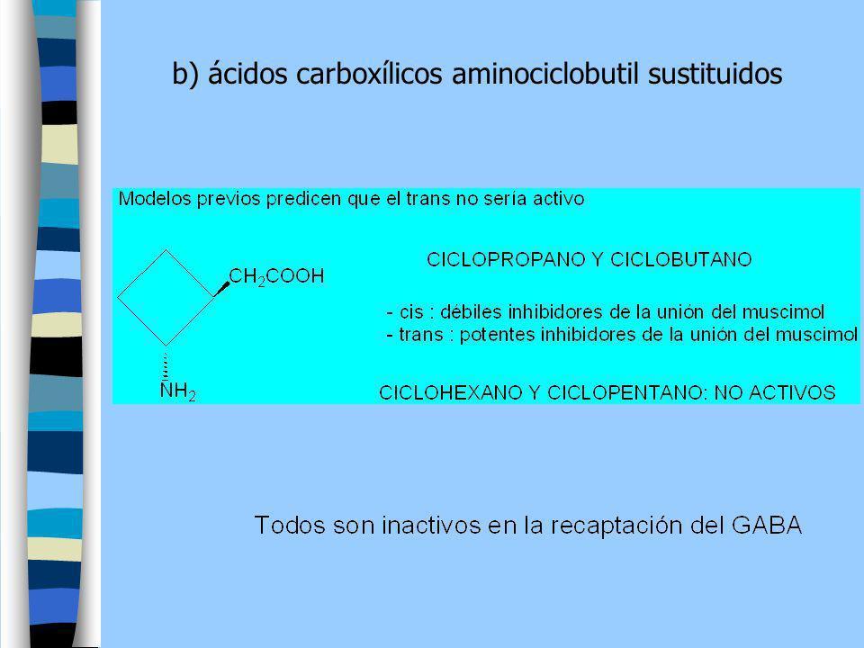 b) ácidos carboxílicos aminociclobutil sustituidos