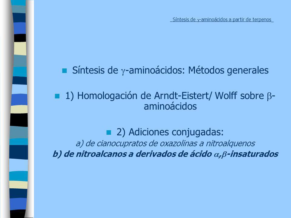 _Síntesis de -aminoácidos a partir de terpenos _ Síntesis de -aminoácidos: Métodos generales 1) Homologación de Arndt-Eistert/ Wolff sobre - aminoácid