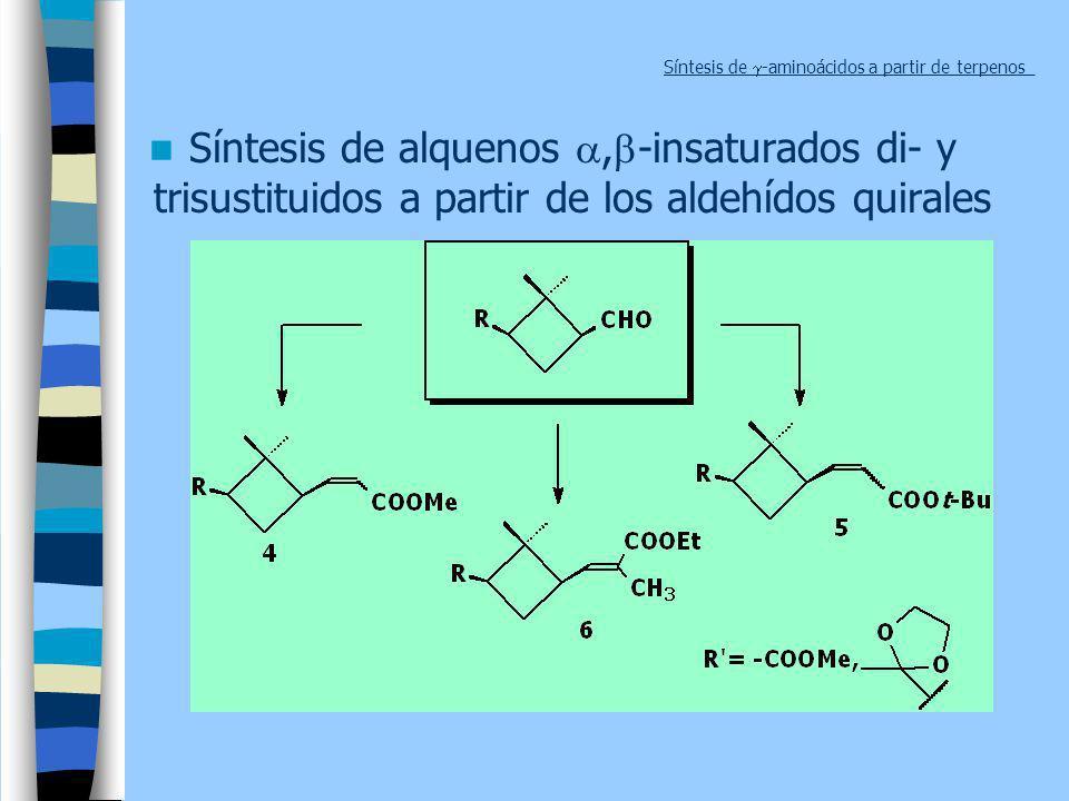 Síntesis de -aminoácidos a partir de terpenos_ Síntesis de alquenos, -insaturados di- y trisustituidos a partir de los aldehídos quirales