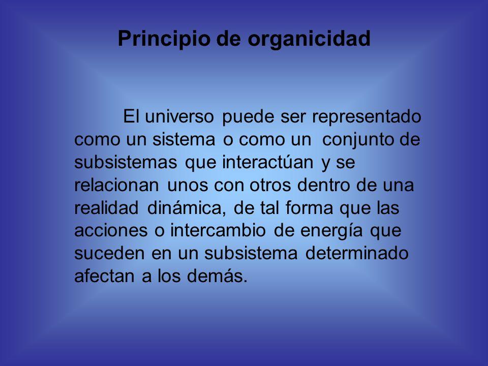 Principio de organicidad El universo puede ser representado como un sistema o como un conjunto de subsistemas que interactúan y se relacionan unos con
