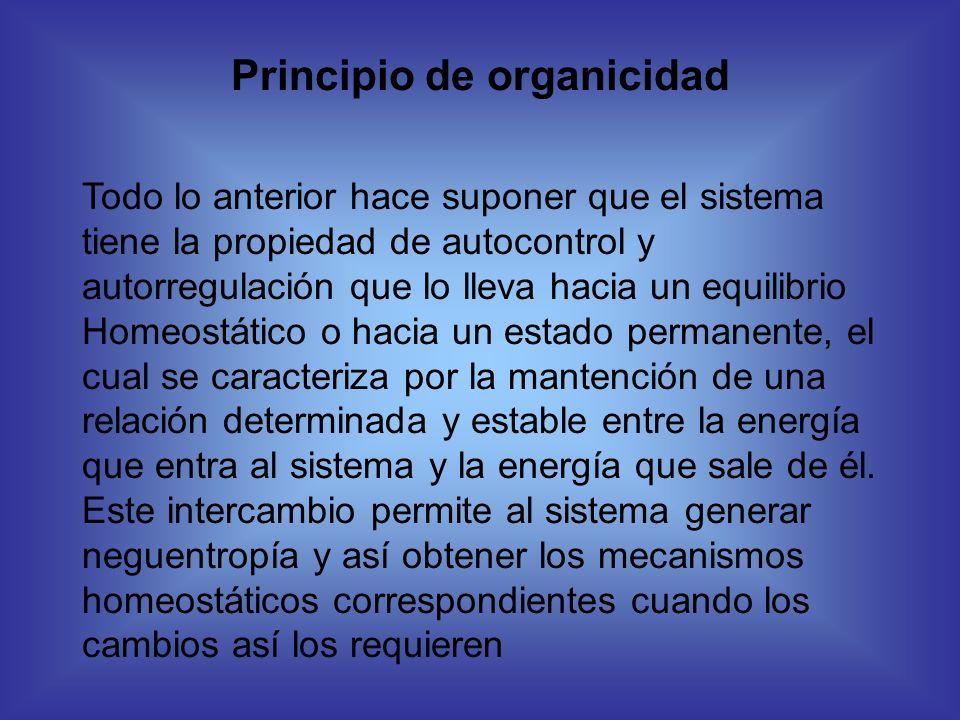 Principio de organicidad Todo lo anterior hace suponer que el sistema tiene la propiedad de autocontrol y autorregulación que lo lleva hacia un equili