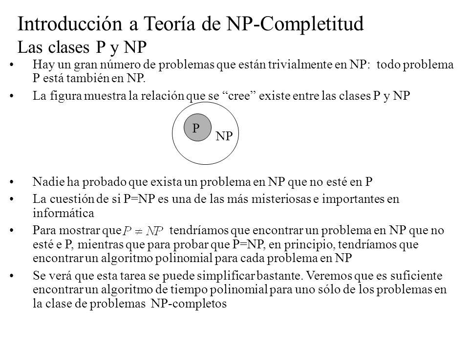 Introducción a Teoría de NP-Completitud Las clases P y NP Hay un gran número de problemas que están trivialmente en NP: todo problema P está también e