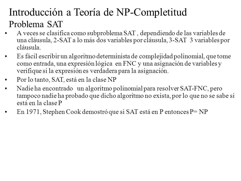 Introducción a Teoría de NP-Completitud Problema SAT A veces se clasifica como subproblema SAT, dependiendo de las variables de una cláusula, 2-SAT a