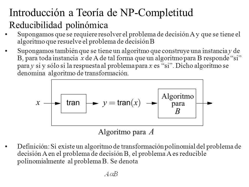 Introducción a Teoría de NP-Completitud Reducibilidad polinómica Supongamos que se requiere resolver el problema de decisión A y que se tiene el algor