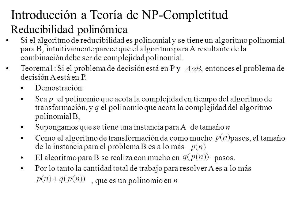 Introducción a Teoría de NP-Completitud Reducibilidad polinómica Si el algoritmo de reducibilidad es polinomial y se tiene un algoritmo polinomial par