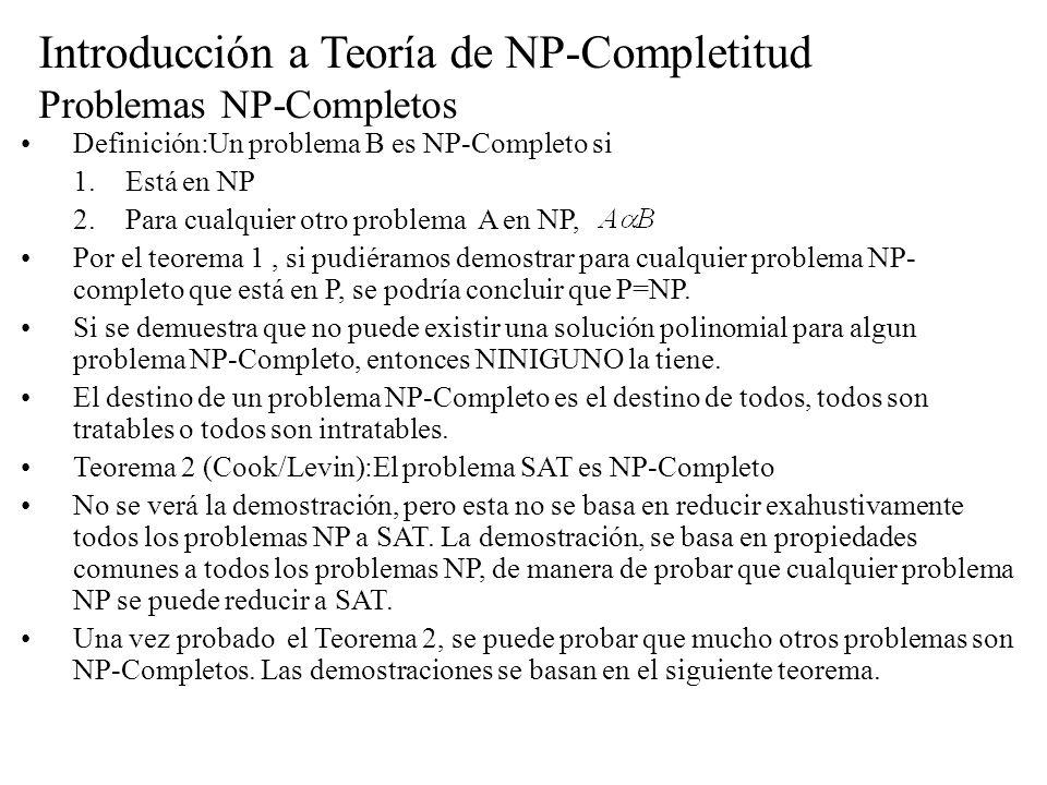 Introducción a Teoría de NP-Completitud Problemas NP-Completos Definición:Un problema B es NP-Completo si 1.Está en NP 2.Para cualquier otro problema